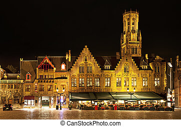 Bourg square at night, Bruges. Belgium - Night view of Bourg...