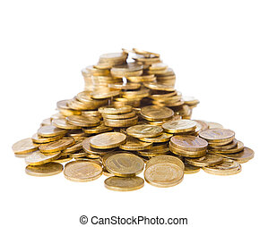 Heap of coins The riches and well-being concept Isolated on...
