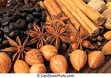 Spices - Christmas spices. Cooking ingredients: cinnamon...