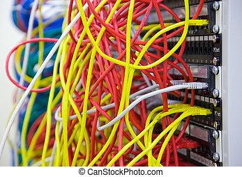 Um, grupo, rede, cabos, dados, centro
