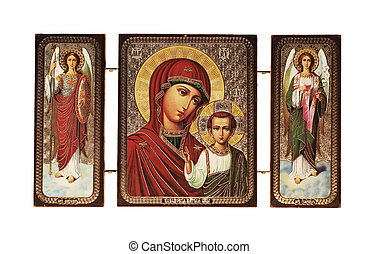 Christian icon isolated on white background