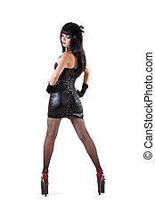 dominante, mujer, vestido, Llevando, sumamente, alto,...