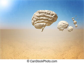 escape of brain - 3d brain in 3d desert world