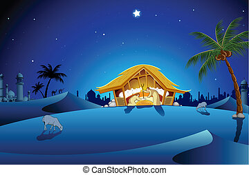 Nativity Scene - illustration of nativity scene showing...