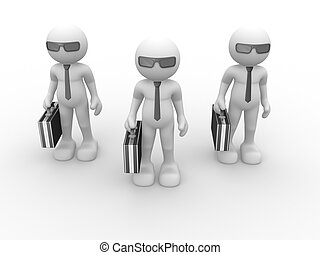 Briefcase - 3d people - human character with briefcase and...