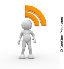 RSS symbol - 3d people - human character and RSS symbol . 3d...