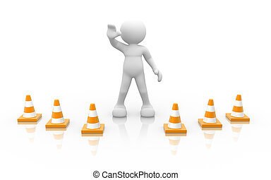 Trafic coins - 3d people - human character and traffic...