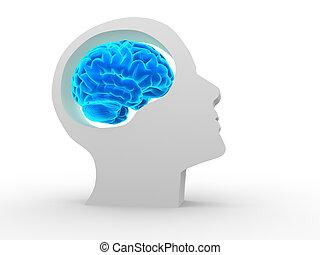 Brain - Human head with brain. 3d render illustration