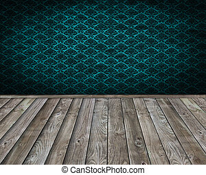 interior wooden and vintage wall paper room