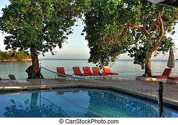 Resort Pool in Jamaica - Pool at resort overlooking...