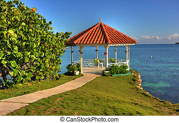 Wedding Gazebo in Jamaica - Wedding gazebo overlooking...