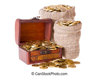 Wooden chest and two bags filled with coins. Isolated on a...