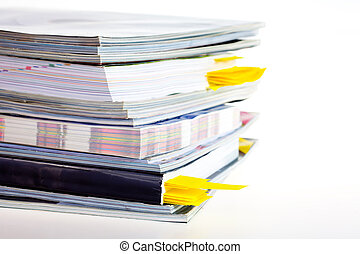 A stack of magazines - Closeup background of a pile of old...