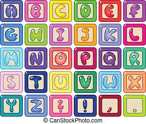 alfabeto, blocchi