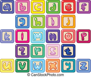 Lower case alphabet blocks - Colorful lower case alphabet...