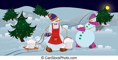 Snowmen are getting diner  banner