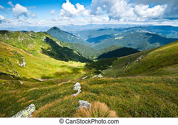 Carpathian mountains landscape in Ukraine and blue sky in...