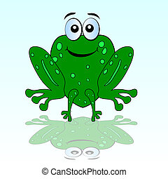funny green frog vector illustration of beauty art