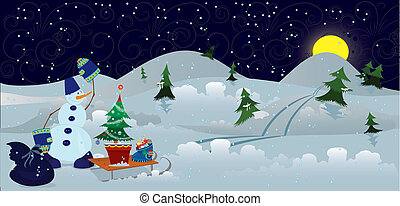 Snowman with bag and sleds banner