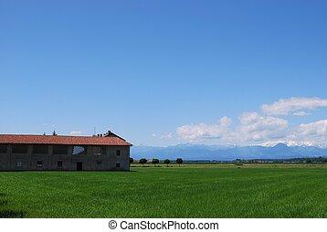 Farm and flat farmland