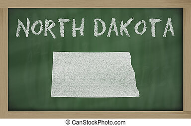 outline map of north dakota on blackboard