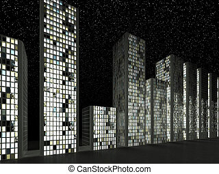 Megalopolis: Abstract modern buildings in a row at night