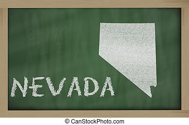 outline map of nevada on blackboard - drawing of nevada...