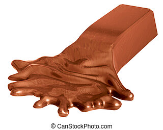 Melted chocolate bar isolated on white