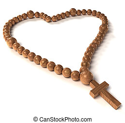 Rosary beads heart shape on white - Rosary beads heart shape...