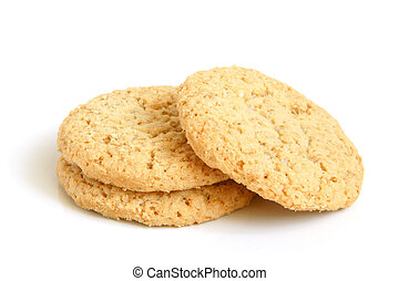 Oatmeal cookies on a white background