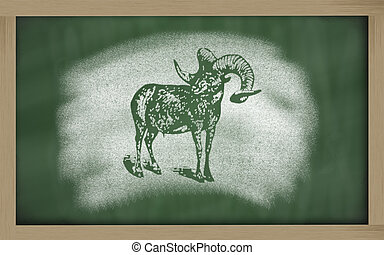 sketch of argali on blackboard (Ovis ammon) - Ovis ammon...