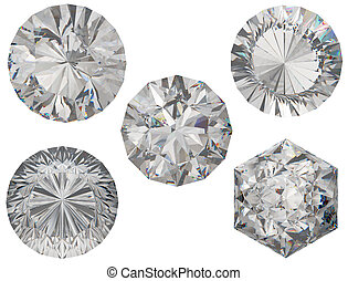 Top views of round and hexagonal diamond cuts over white...