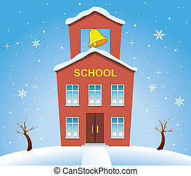 country school house in winter - vector illustration of...