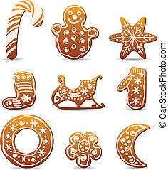 holiday gingerbread cookies - vector set of winter holiday...