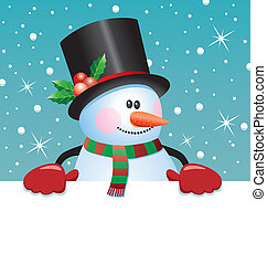 snowman holding blank paper - vector christmas illustration...
