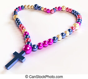 Abstract colorful rosary beads on white - Abstract colorful...