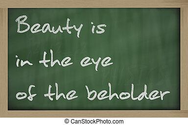 """"""" Beauty is in the eye of the beholder """" written on a..."""