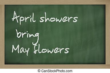 """"""" April showers bring May flowers """" written on a blackboard..."""