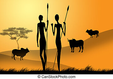 Africa - illustration of the African men with a spear