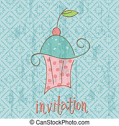 Vintage Invitation Card with cute Cupcake - in vector