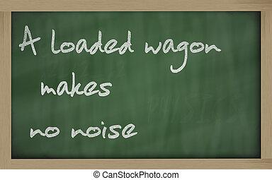 """"""" A loaded wagon makes no noise """" written on a blackboard -..."""