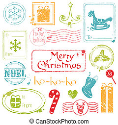 Christmas Grunge Stamps Collection - great set for your design, scrapbook, invitation