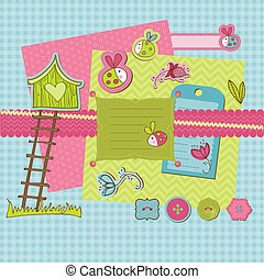 Scrapbook design elements - Cute Ladybugs and flowers in...