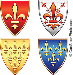 traditional old shields with the arms of France and Florence, lily (fleur de lis) in blue, red, gold, silver background, isolated on white background