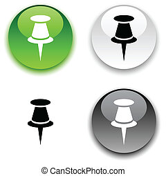Drawing-pin button. - Drawing-pin glossy round vector...