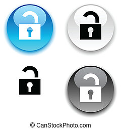 Padlock button. - Padlock glossy round vector buttons.
