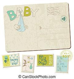 Vintage Baby Boy Arrival Postcard in vector