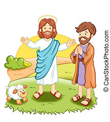 Jesus - colored illustration of Jesus