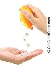 Vitamin C - Conceptual image of vitamin C tablets being...