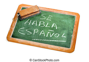 Spanish is spoken - sentence Spanish is spoken written in...